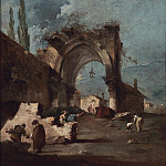 Francesco Guardi A capriccio of buildings on the laguna with figures by a ruined arch 98621 20, Франческо Гварди