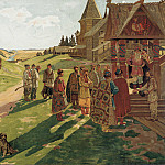 часть 1 - Russian and soviet artists Русские и советские художники - В усадьбе князя 1907 Акварель