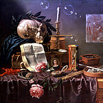 часть 4 - европейского искусства Европейская живопись - PEETER SION THE ELDER Vanitas Still Life Soup Bubbles a garlanded Skull an Hourglass a Watch a snuffed Candle and other objects on a partly draped Table 89731 172