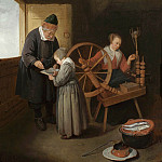 часть 4 -- European art Европейская живопись - Quiryn Gerritsz van Brekelenkam Interior with a School Master teaching a young girl to read with a young woman seated at a spinning wheel 27964 20