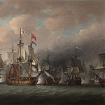 часть 4 -- European art Европейская живопись - Nicholas Pocock Admiral Rodneys flagship Formidable 98 guns raking the enemy at the beginning of The Battle of the Saintes 12th April 1782 28535 20