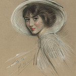 часть 4 -- European art Европейская живопись - Paul Cesar Helleu Portrait of Annette wearing a white hat 28336 20