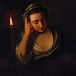 часть 4 -- European art Европейская живопись - Philip Mercier A young girl reading by candlelight 32063 184