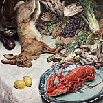 часть 4 -- European art Европейская живопись - Oswald POREAU Still life of lobster and game 33225 617