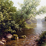 часть 4 -- European art Европейская живопись - Rene Charles Edmond His A River Scene in France 12058 2426