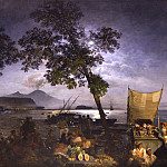 часть 4 -- European art Европейская живопись - Oswald Achenbach Moonlit Scene of the Bay of Naples 32617 172
