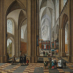 часть 4 - европейского искусства Европейская живопись - Pieter Neeffs The Elder The interior of a cathedral with elegant company a service in progress in a side alter 61939 20