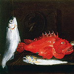 часть 4 -- European art Европейская живопись - Paolo Porpora Still Life with Mullet Scorpion Fish Weever two Shells and a Medallion 17940 203