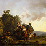 часть 4 -- European art Европейская живопись - PHILIPPE JACQUES DE LOUTHERBOURG Travellers with hounds and heavily laden mules at a well 29893 172