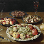 "OSIAS BEERT ""Still life of Bowls with Fruit and Nuts Bread Two Wine Glasses and a Knife"" 32310 316, Osias Beert"