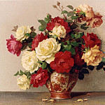 часть 4 -- European art Европейская живопись - Maurice Decamps Roses in a Vase 11988 2426