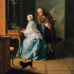 Johann Heinrich Tischbein I – Self-portrait with his wife at the spinet, Part 3