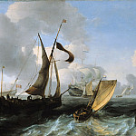 Slightly choppy sea with ships, Ludolf Bakhuizen