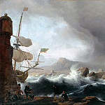Stormy seas at mountainous coastal, Ludolf Bakhuizen