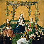 Mary with child in the rose arbor with Saints Catherine, Barbara, Magdalen and founder family, De Schryver Louis Marie