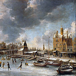 Skaters before Paal Huis and the Nieuwe Brug in Amsterdam, Jan Abrahamsz van Beerstraten