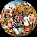 Master of Affligem – Joseph is sold by his brothers to the Ishmaelites, the brother show the father of Joseph bloody clothes, Part 3