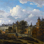 Jan van der Heyden, figures by Adriaen van de Velde -- Old Palace in Brussels , seen from the northwest , Part 2 Louvre