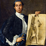 Luis Meléndez -- Portrait of the artist holding an academic drawing, Part 2 Louvre