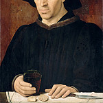 Portuguese School; formerly attributed to Master of 1456 -- Man with a Glass of Wine, Part 2 Louvre