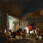 Philips Wouwerman -- Cavaliers leaving a stable, Part 2 Louvre