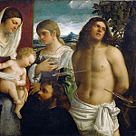Sebastiano del Piombo -- Sacra Conversazione, or Holy Family with Saints Catherine and Sebastian and a Donor, Part 2 Louvre