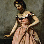 Girl in pink dress with roses and a pearl. Oil on canvas, Jean-Baptiste-Camille Corot