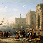 Claude Lorrain -- View of a harbor with the Capitol, Part 2 Louvre