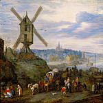 Jan Brueghel the elder -- Seaport with Windmill, Part 2 Louvre