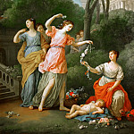 Part 2 Louvre - Joseph-Marie Vien -- Young Greek girls bestowing garlands on sleeping Amor