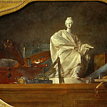 Chardin, Jean-Baptiste Simeon -- Les attributs des arts-the attributes of the arts, companion piece to 40-12-16/29, one of three supraporti for the Chateau de Choisy, 1765 Canvas, 91 x 145 cm INV.3199, Part 2 Louvre