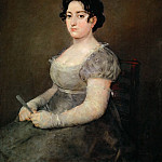 Goya y Lucientes, Francisco Jose de -- La femme a l'evantail-lady with a fan. Canvas, 103 x 84 cm R.F. 1137, Part 2 Louvre