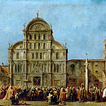 Francesco Guardi -- Doge's Procession in Front of the Church of San Zaccaria, Venice, on Easter, Part 2 Louvre