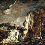 Salvator Rosa -- Rocky Landscape with Hunter and Warriors, Part 2 Louvre