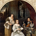 Caspar Netscher -- Pair of a chanteuse and a theorbe player, also called 'The Singing Lesson', Part 2 Louvre