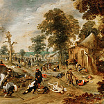 Part 2 Louvre - Sebastian Vrancx -- Pillage of a Village, also called the Burning of Wommelgen near Antwerp, 1589