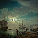 Claude-Joseph Vernet -- Night, a Port in Moonlight, Part 2 Louvre