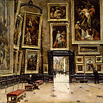 Alexandre Brun -- View of the Salon Carré at the Louvre, Part 2 Louvre