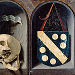 Jan Gossaert -- Diptych of Jean Carondelet, reverse, Vanitas depicting a skull with a dislocated jaw [left], Carondelet's Coat of Arms [right], Part 2 Louvre