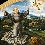 Part 2 Louvre - Joos van Cleve -- Retable of the Deposition, detail; lunette, Stigmatization of St. Francis