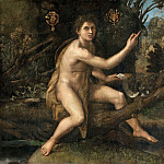 Raphael -- Saint John the Baptist in the Desert Indicating the Cross of the Passion, Part 2 Louvre