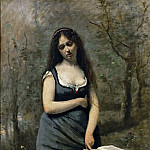 Part 2 Louvre - Corot, Jean-Baptiste Camille -- Velleda, (inspired by the heroine of Martyrs by Chateaubriand) Canvas, 83, 5 x 55, 5 cm R.F. 1640