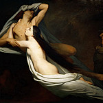 Ary Scheffer -- The Shades of Francesca da Rimini and Paolo Malatesta Appear to Dante and Virgil, Part 2 Louvre
