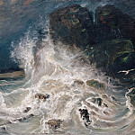 Part 2 Louvre - Paul Huet -- Breakers at Granville (Brisants à la pointe de Granville; Manche)