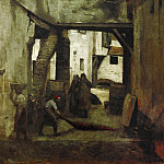 Part 2 Louvre - Corot, Jean-Baptiste Camille -- The tanneries of Mantes, France. Oil on canvas (1783) 61 x 43 cm RF 1624