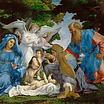 Holy Family with three angels, young Saint John the Baptist, Saints Elizabeth and Zachary, Lorenzo Lotto