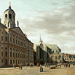 Part 2 Louvre - Gerrit Adriaensz. Berckheyde (1638-1698) -- Dam Street and the New City Hall of Amsterdam