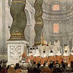Part 2 Louvre - Attributed to Jean-Auguste-Dominique Ingres -- Pontifical Mass at Saint Peter's Basilica in Rome, beneath the baldachin by Bernini