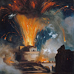 Achille Etna Michallon -- Fireworks at the Castel Sant'Angelo, Part 2 Louvre