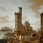 Pieter Wouwerman -- The Tower and the Porte de Nesle in Paris, Part 2 Louvre